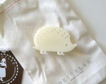 Hedgehog Pin Animal brooch - acrylic Ivory