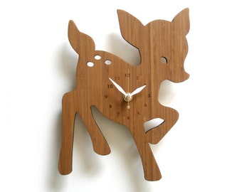 Whimsical Wooden Fawn Wall Clock Perfect for Nursery Kids Room Decor and Gift idea