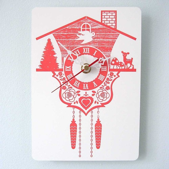 Wall Hanging Clock - Cuckoo Clock - Orange