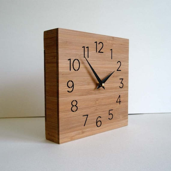 Modern clock, wooden box, wall or desktop clock, simple design, square clock