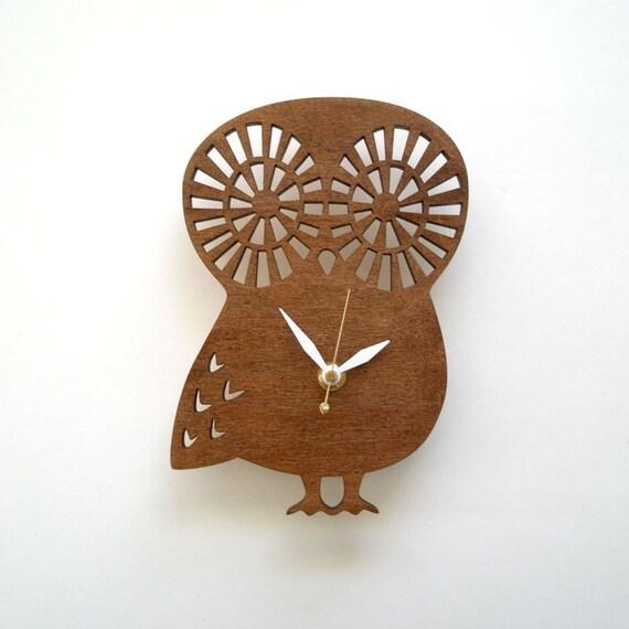 Modern Baby Owl clock - Maple Veneer Dark Stained