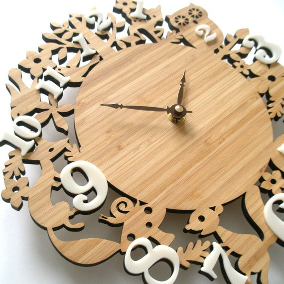 FREE SHIPPING - Wooden decorative wall clock, forest animal clocks, Childrens room decor, 10 inches