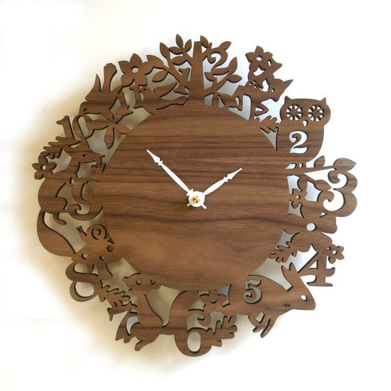 Unique wall clock, Forest Animals, Walnut veneer, FREE SHIPPING