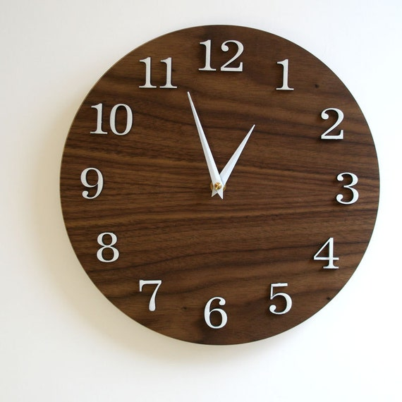 "11"" Modern Wall Clock - Standard - Walnut finish"