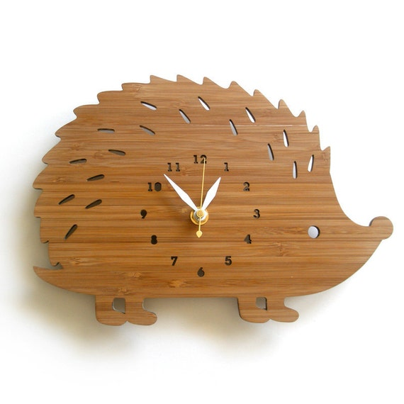 Wall Clock - Modern hedgehog with numbers