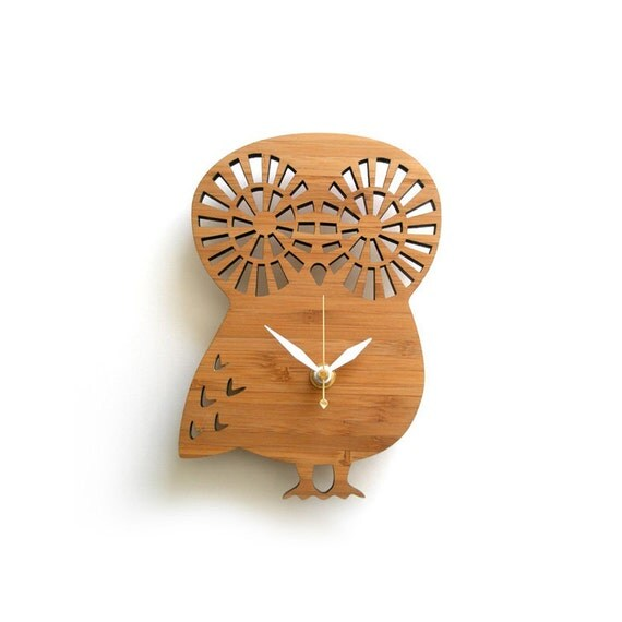 Modern Owl Clock Small