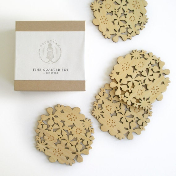 Flower Coasters Set of 4 - Bamboo