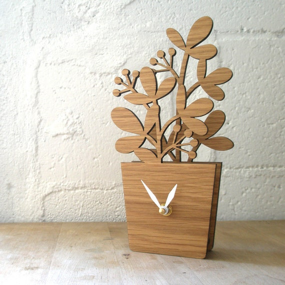Houseplant Desktop Clock - Medium