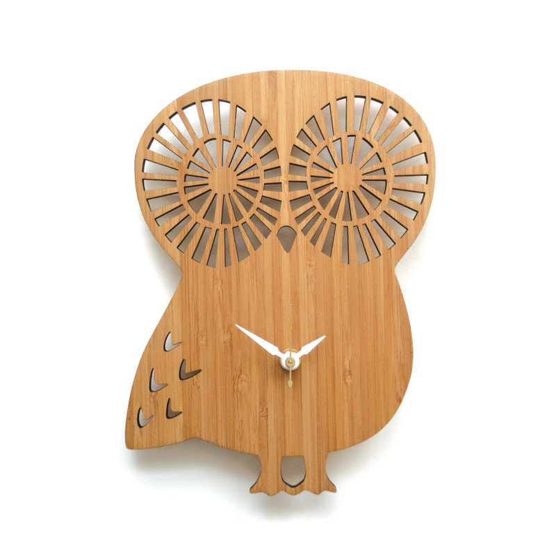 Wall Clock Owl Design : Modern animal wall clock owl without numbers
