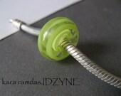Lime Green Ribbons  Bracelet Bead Big Hole Bead BHB Handmade Bead SRA - fits European Bracelets