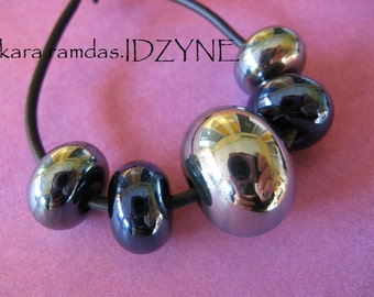 Silvered Mirrors Metallic Lampwork -Set of 5 Beads Including Focal