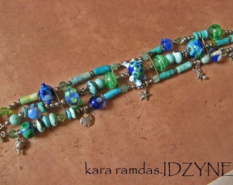 Turtle, Starfish, Turquoise, Manatee, Sanddollar, Lizard, Sterling Silver Sealife Bracelet