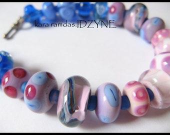 Berries Bracelet Blue and Purple Lampwork Beads