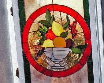 Stained Glass Art Panel Fruit Bowl