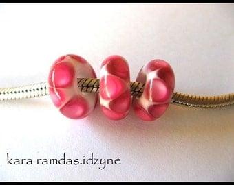 BHB Hot Pink Dots on White  Bracelet Bead Big Hole Bead BHB Handmade Bead SRA - fits European Bracelets