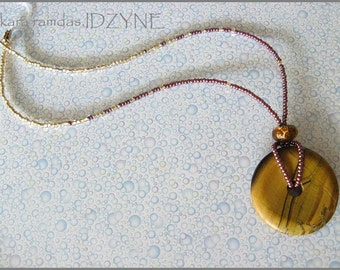 Tigers Eye Medallion Necklace with Ivory and Plum beads
