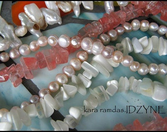 Freshwater Pearl Semiprecious Stone Sterling Silver Five Strand Necklace by Idzyne