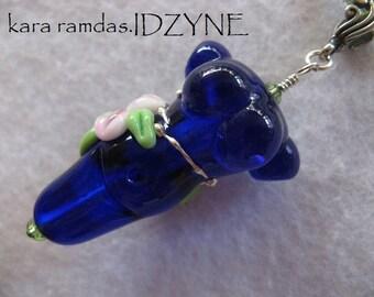 Pink Floral Goddess Bead in Cobalt Blue and Sterling -Necklace