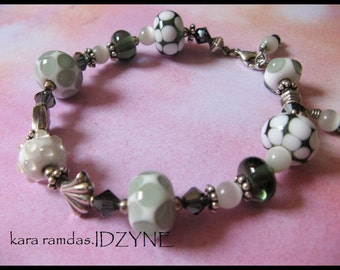 Grey, White and Silver and Lampwork Bead Bracelet