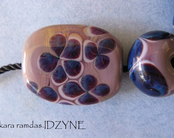 Purple Floral Crunch Focal Plus 4 Beads