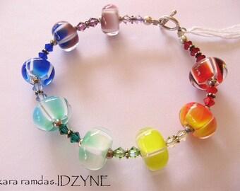 Rainbow Lampwork Bead and Swarovski Crystal Bracelet