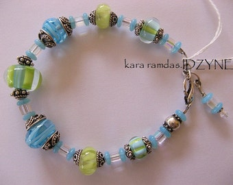 St. Kitts Anytime Lampwork and Sterling Silver Bead Bracelet in Fun Loving Colors