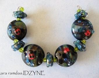 Ladybug Liason Lentil Beads set of 9