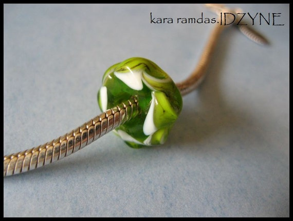 Green Twisted Lampwork Big Hole Bead fits Troll, etc