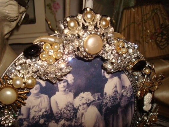 Vintage Jeweled Black Cameo Clear  Rhinestone Photo Picture Frame Sparkling OOAK