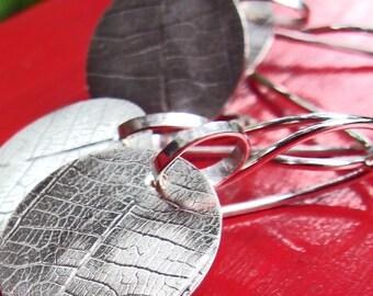 Leaf Imprint Earrings in Circles