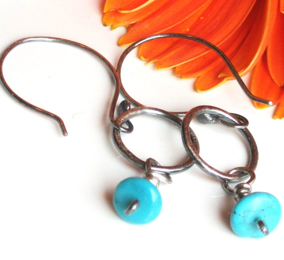 SALE Turquoise Earrings in Sterling Silver Hoops
