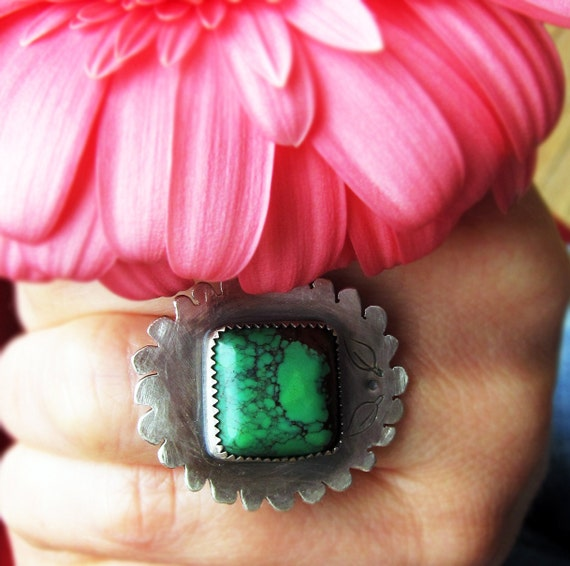 December Birthstone Sale- 54.00 a Was 90.00 -Turquoise Bloom Ring