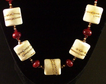 Lampwork Glass Necklace: Tickled Ivories No. 2