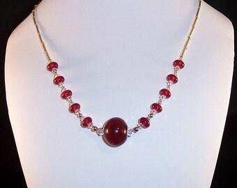 Lampwork Glass Necklace: Cranberries
