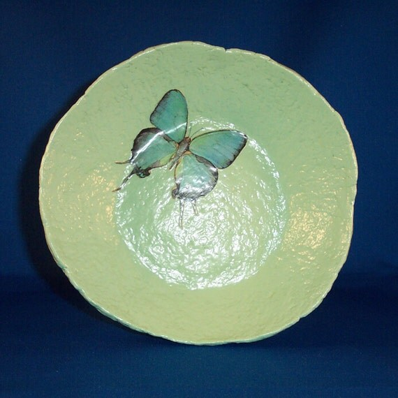 "Papier Mache Butterfly Bowl ""Cooling Wings"""
