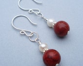 White Pearl and Coral Earrings - Round Coral Beads, White Fresh Water Pearls, Sterling Silver