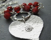 Infinite Love Necklace - Sterling Silver Heart With Swirl, Ruby Red Quartz Beads, Hammered Organic Texture