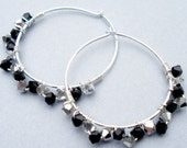 Charming Hoop Earrings - Sterling Silver, Wire Wrapped Swarovski Jet Black and Comet Crystals