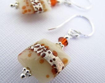 Volcano Puff Earrings - Square Lampwork Foil Bead, Swarovski Crystals, Sterling Silver