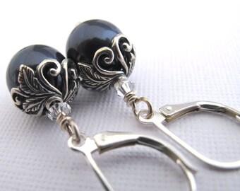 Botanical Romance Earrings - Swarovski Crystal Pearls, Midnight Blue, Sterling Silver