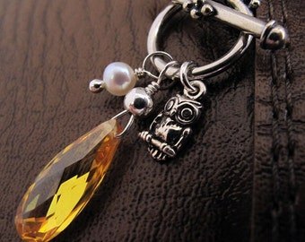 Sunshine Owl Charm Necklace - Sterling Silver, White Fresh Water Pearl, CZ Teardrop