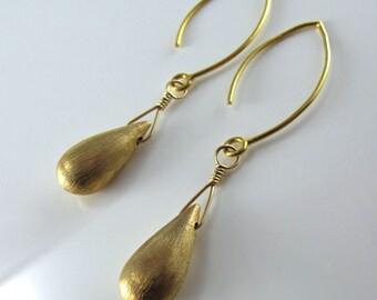 Sleek Modern Gold Teardrop Earrings - Brushed 24k Gold Vermeil Teardrops