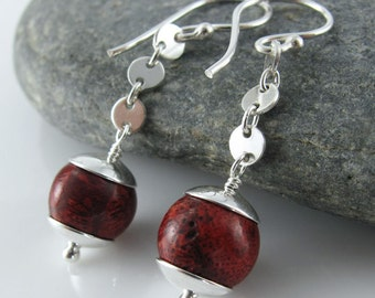 Connect The Dots Earrings - Red Sponge Coral, Sterling Silver