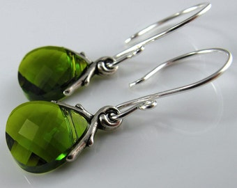 Crystals Upon A Branch Earrings - Olivine Green Swarovski Briolettes and Sterling Silver