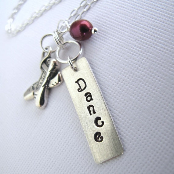 Dance Tag Charm Necklace - Sterling Silver Ballet Slippers Charm, Cranberry Fresh Water Pearl, Personalized Tag