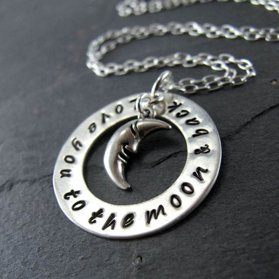 "Love You To The Moon And Back Necklace - 1"" Hand Stamped Sterling Silver Disc, Moon Charm"