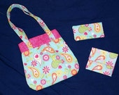 Child's Purse\/Wallet set paisley\/pink