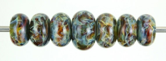 30% Discount Holiday Sale Lampwork Glass Boro Bead Set of 7 With Focal Bead Handmade Juba Glass Blue sparkle 056