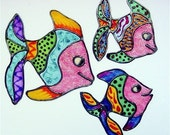 Three Big Fish Bathroom or Laptop Decals or Window Clings with Stained Glass Effects MADE TO ORDER