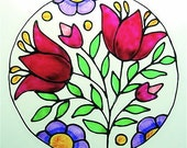 Printemps, Window Cling Suncatcher with Stained Glass Effects MADE TO ORDER